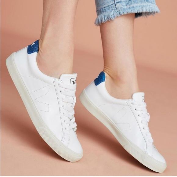 Dime Días laborables Cambio  Veja Shoes | Esplar Vegan Leather Blue Glitter Sneakers | Poshmark